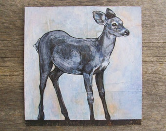 "modern rustic art: ""blue fawn,"" original ink & acrylic painting"