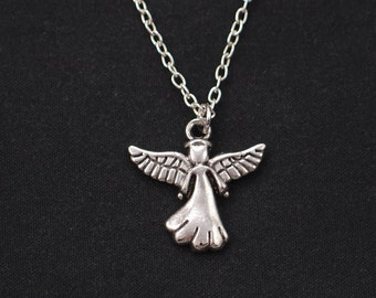 angel necklace, sterling silver filled, silver guardian angel charm, angel wings jewelry, little girl gift, valentines day, communion gift