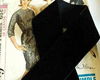 "Black Velvet Ribbon for Bows, Floral, and Millinery 1.5"""