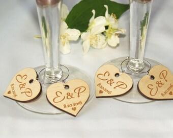 Wedding wine charms, Wine charms, Wine glass charms, Wedding charms, Custom wine charms, Wood wine charms, Wedding favors, Wedding charms