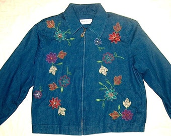 Jacket-Alfred Dunner Bluejean Embroidered & Lined-Women's-Pristene