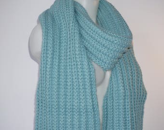 Knit scarf, long knit scarf, knit shawl, womens fashion accessory, chunky Knit scarf in turquois, cozy softness, knit scarves
