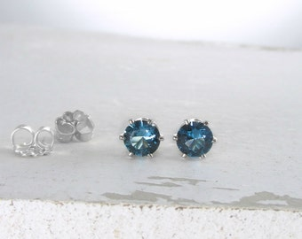 December Birthstone Earrings Silver Stud Earrings Blue Zircon Stud Earrings Blue Birthstone Earrings Birthstone Jewelry Holiday Gift For Her