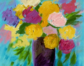 Belle Bouquet, 18x18, flowers in vase, flower arrangement, floral painting, square painting contemporary wall art canvas art canvas painting
