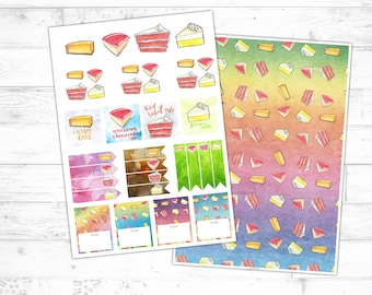 CAKE scene watercolor planners stickers (digital download, print template), illustration, sticker set, for Filofax and other calendar books