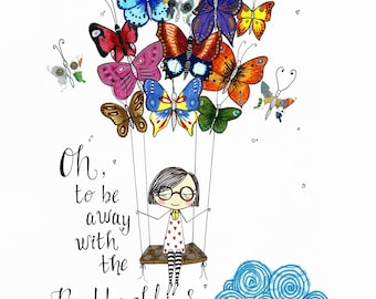 Oh butterflies print, signed.