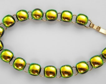 "16 cabs BRACELET Dichroic fused glass bracelet handmade (SYD8) GOLD PLATED 7-1/4"" long dichroic"