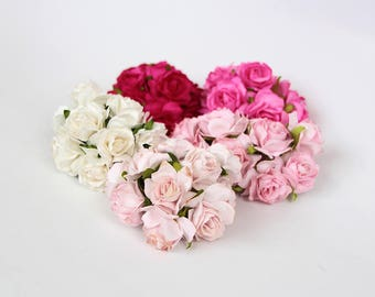 50 pcs - Shades of pink mulberry paper 3 cm TEA ROSES / wholesale pack