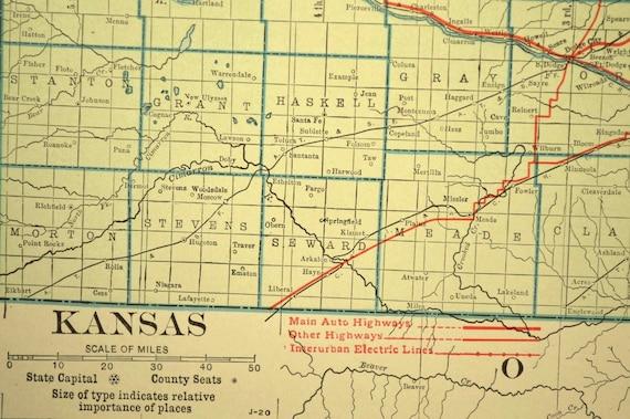 Kansas Map LARGE Kansas Road Map Highway Wall Art Decor Green
