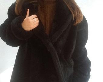 90s black Faux Fur SWING Coat, thick soft fur, medium