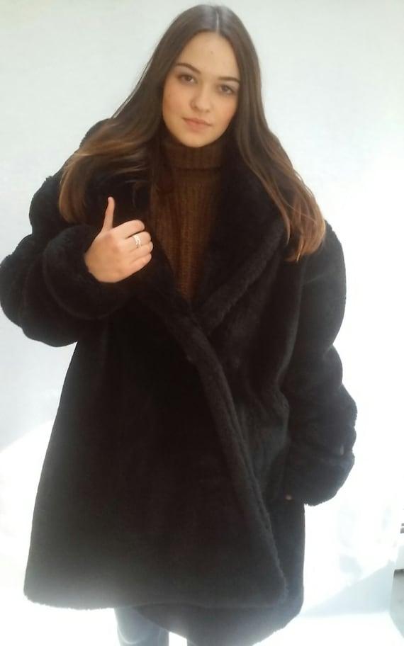 90s Faux Fur Coat, Club Kid, medium