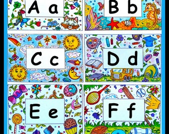 ABC Teaching Tool  Alphabet  Homeschool Learning Letters  Word Wall  Reading Resource  Word Wall  Coloring Activity  Primary Teaching