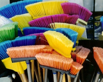 Clean Palette - Bounty of Colourful Brooms - Mud Room Wall Decor - Original Color Film Matted Photograph by Suzanne MacCrone Rogers