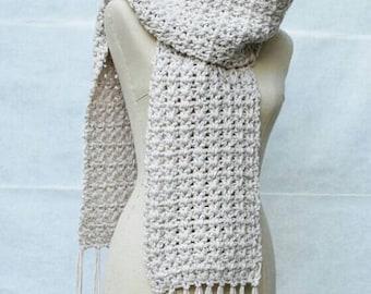 Crochet Scarf with Fringe, Long Tan Scarf, Oversized Crochet Scarf Wrap, Fringe Beige Scarf, Open ended Scarf Crochet Knit, Fall Scarf