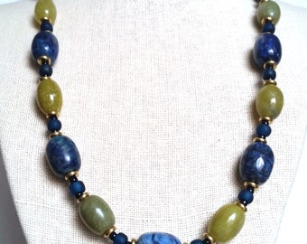 OLIVE JADE & LAPIS Necklace. Blue and Lime Green Stone Necklace with Gold, Brass. Short Gemstone Necklace with Chunky Beads.