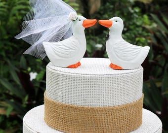 White Duck Wedding Cake Topper:  Handcarved, hand painted Wooden Duck Cake Topper - Pekin Duck