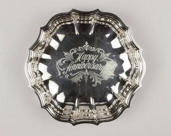 Happy Anniversary Oneida Silverplate Chippendale 8663 Bon-Bon, Pointed Scallops