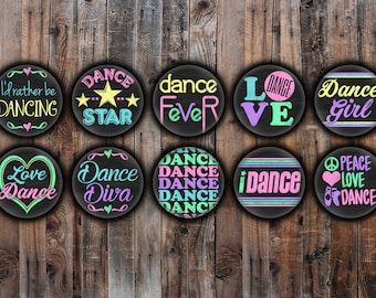Set of 10 Dance girls pinback buttons, chalkboard style with bright colors.