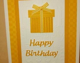 Gold birthday present card