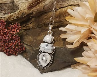 Beautiful 3 piece Dentrite opal in vintage style Sterling silver