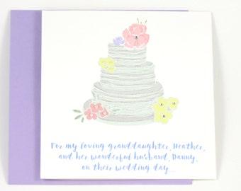 Personalized Wedding Card, Wedding Congratulations Card, Wedding Cake Card, Bridal Shower Card, Bride and Groom, Wedding Couple, Gay Couple