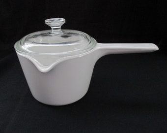 Vintage, Corning Ware, M-68, White, Double Spouted Sauce Pot, Dual Spouted Saucepan, 1 Quart, with Original Lid. 1970's