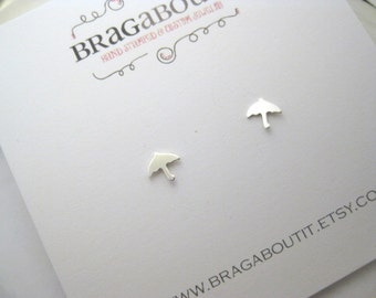 Umbrella Stud Earrings . Teeny Tiny Sterling Silver Umbrella Earrings . Earrings . Stud Earrings . Brag About It
