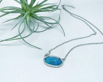 Turquoise pendant necklace. Semi precious stone. Turquoise stone. Pendant. Necklace. Handmade. Gift.