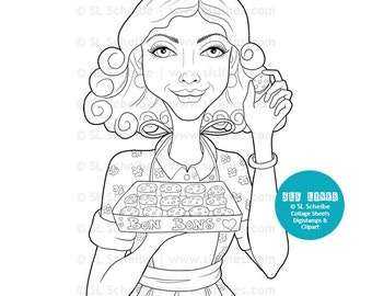 Digital stamp Vintage girl baking cakes and candies digitstamp, SAHM baking bonbons, cookies coloring page