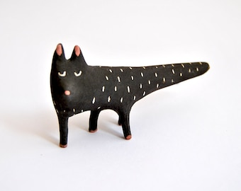 Special Halloween. Black Cat Ceramic Miniature with Black Engobe and Sgraffito. Ready To Ship