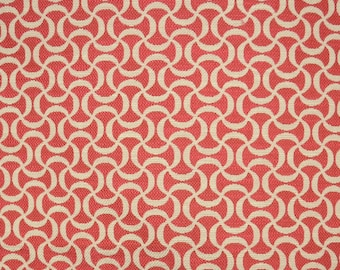 Squiggle Coral Pink Trellis Fabric