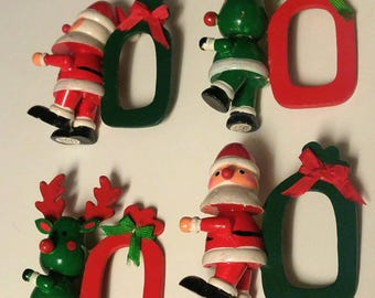 Vintage Set of Four Vera Christmas Santa And Reindeer Hand Painted Wooden Napkin Holders