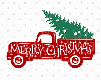 Merry Christmas Red Truck Svg Vintage SVG