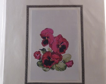 Ruby Pansies cross stitch chart by Marc I. Saastad for The Silver Lining