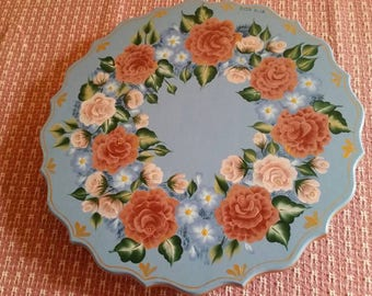 Hand painted floral lazy susan