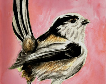 Long Tailed Tit Watercolor Bird Print