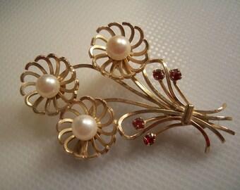 Vintage DCE Douglas C Eaton 14kt GF Pearl Semi Precious Ruby Flower Bouquet Brooch Pin