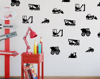 Construction Wall Decals, Construction Vehicles Wall Decal, Trucks Wall Decals, Nursery Wall Decal, Construction Wall Art, Set of 18