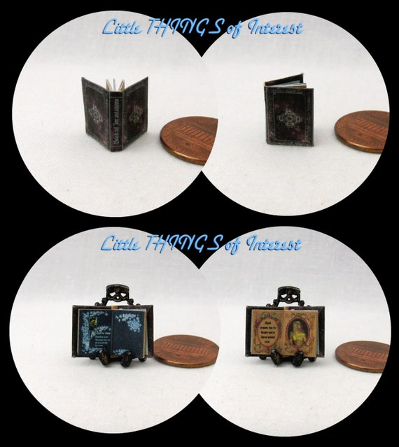 1:24 Scale BOOK Of INCANTATIONS Miniature Book Dollhouse Illustrated Book Potter Magic Wizard Witch Boy Wizard