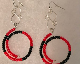 Red and Black Hoop Earrings