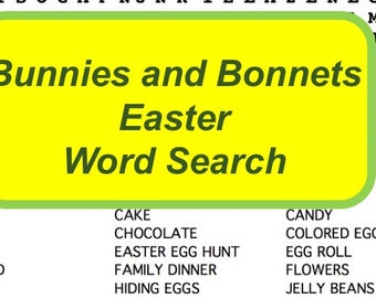 Fun Easter Word Search Puzzle, Non-Religious Easter Word Search Game, Secular Easter Word Search Puzzle, Classroom Easter Activity