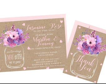 Rustic Floral Its A Girl Baby Shower Invitation and Thank You Card Set Printed (Set of 25)