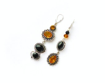Mismatched earrings Citrine earrings Asymmetric earrings Crystal chandelier earrings Gypsy earrings Shoulder duster Black agate earrings