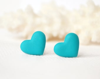 Mother's day sale gift for her Teal heart studs teal heart earrings turquoise heart posts love jewelry Valentine's day earring minimalist