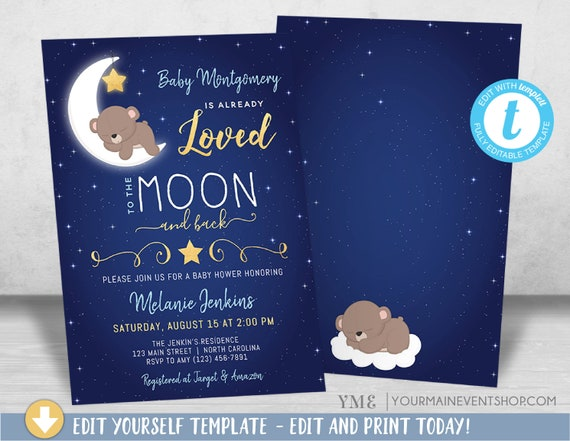 Boy Baby Shower Invitation, Love You To the Moon and back Baby Shower Invitation, Bear Baby Shower invite, Twinkle Twinkle Little Sar