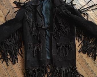 Vintage 1970's Handmade Leather Suede Fringe Jacket Coat Women's Medium