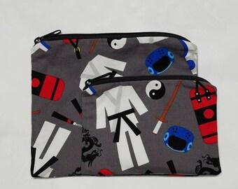 Taekwondo Sandwich Bag Set, Snack Bags, Bags, Sports Snack Bags, Small Bags, Lunch Baggies, Gadget Bags, Nylon Lining, Zipper Closure.