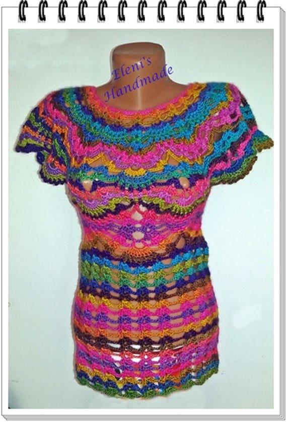 Häkeln-Regenbogen-Bluse für Frauen kurzärmeliges Top Bluse
