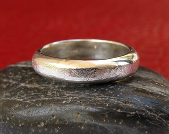 Men's Silver Ring Band, Textured Sterling Silver Mens Ring, Hammered Plain Band for Men, Thick Polished Sterling Silver Men's Ring Band