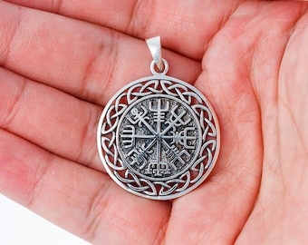 Vegvisir Viking Compass Celtic Knots Handcrafted Sterling Silver 925 Pendant